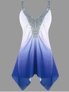 sequins top degradado azul y blanco